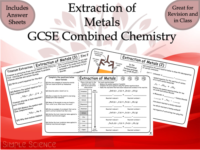 GCSE Chemistry - Extraction of Metals Worksheets