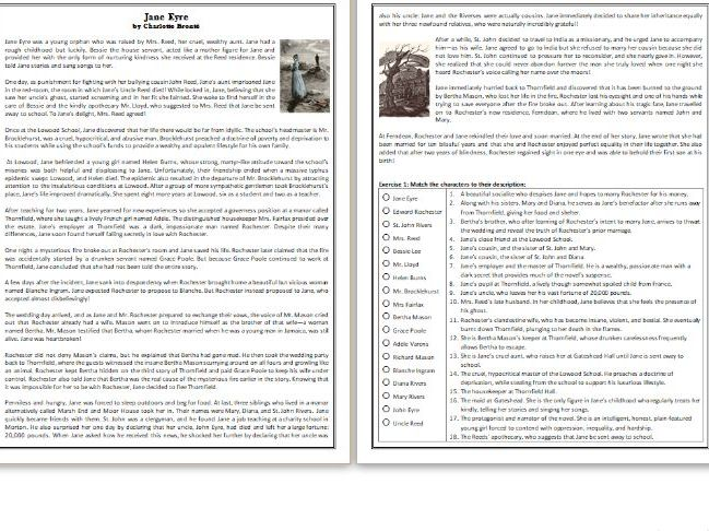 Jane Eyre by Charlotte Brontë - GCSE Reading Comprehension / Text