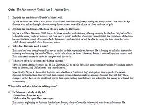 The Merchant of Venice Quiz Set & Answer Key