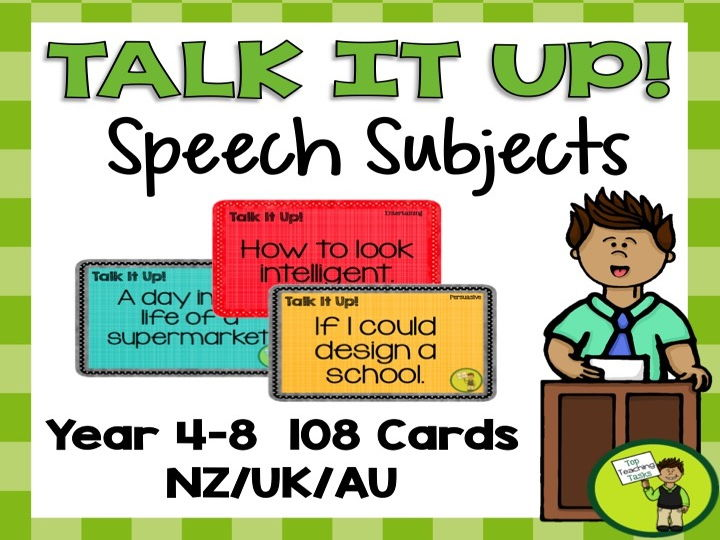 108 Speech Topic Cards for Oral Presentations - Year 4-8 UK/Australia/NZ