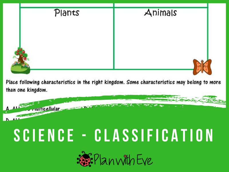 Classification of Living Things - Quiz/Graphic Organizer