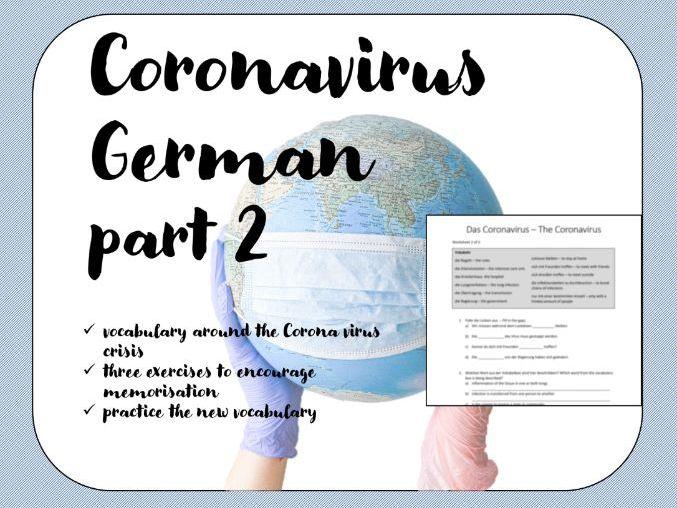 Coronavirus Worksheet German Deutsch Part 2