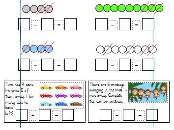 Subtracting 1 digit numbers to 10 Differentiated Worksheets for Year 1. (White Rose)