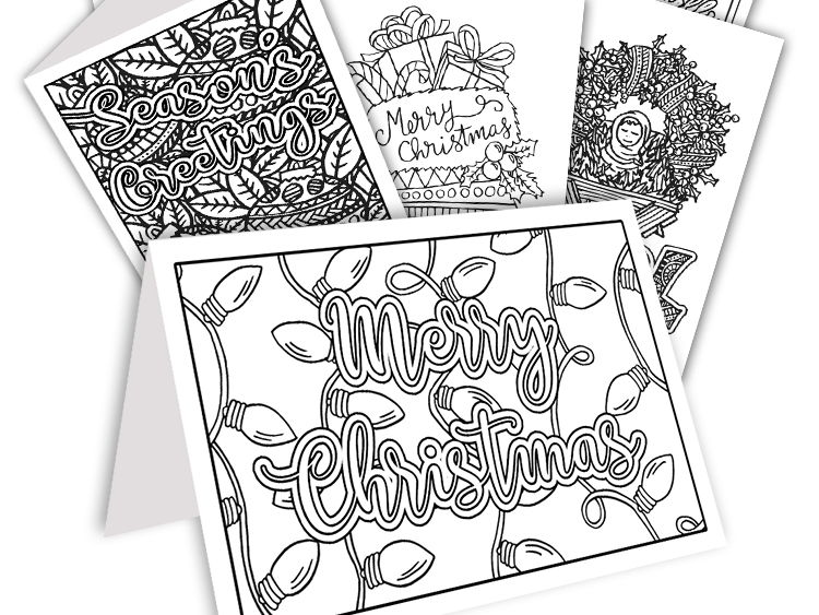 diy coloring christmas cards set of 20 read to fold printable christmas cards