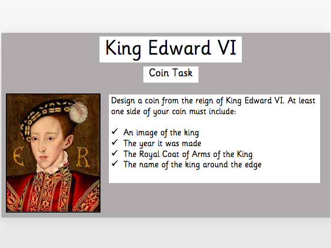 King Edward VI: Design a Tudor Coin Activity