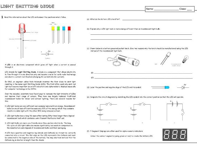 LED (Light Emitting Diode) Worksheet