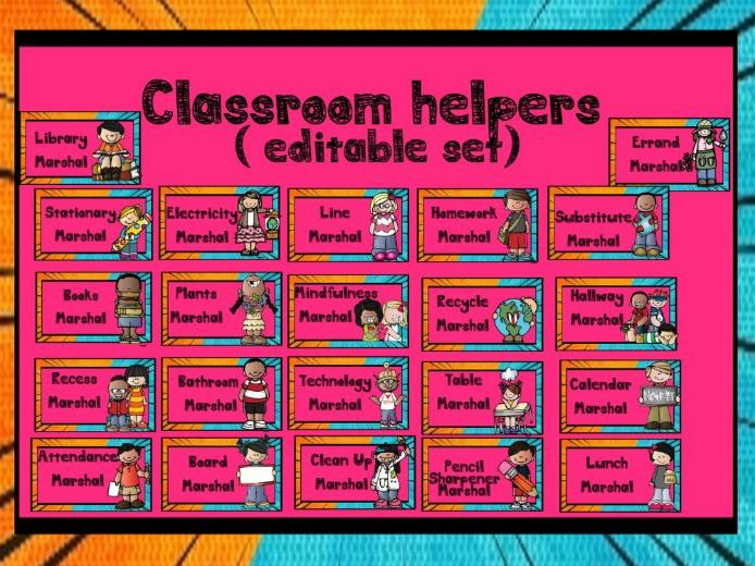 Back to School - Classroom Helpers Set ( Editable )