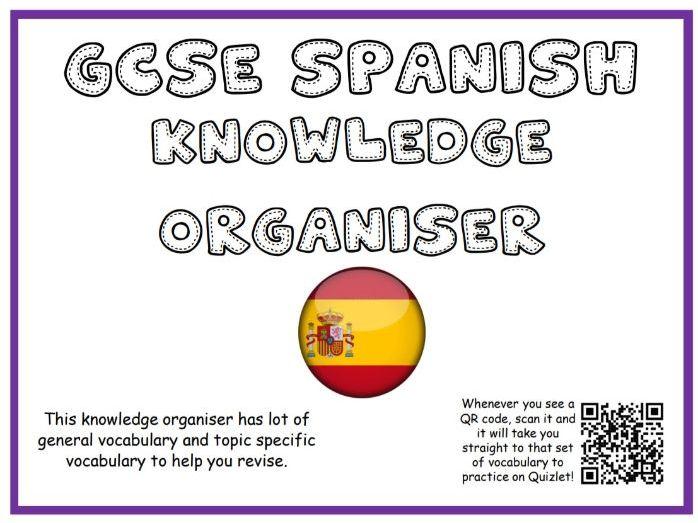 GCSE Spanish knowledge organiser/sentence builder