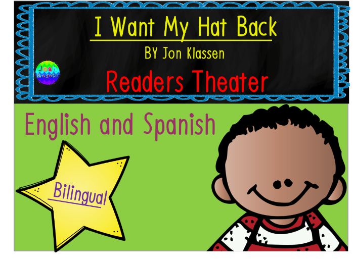I Want My Hat Back by Jon Klassen Readers Theater Bilingual English/Spanish