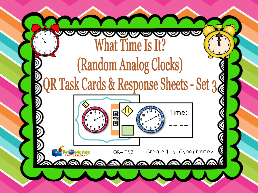 What Time Is it? QR Task Cards & Response Sheets - Random Analog Clocks - Set 3