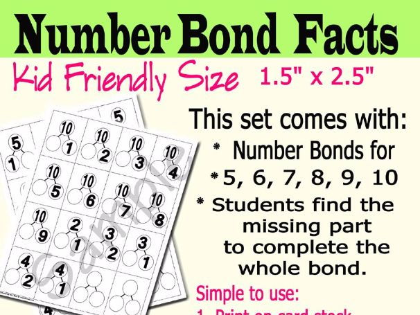 Number Bond Flash Cards Mental Math Practice: Fact Families