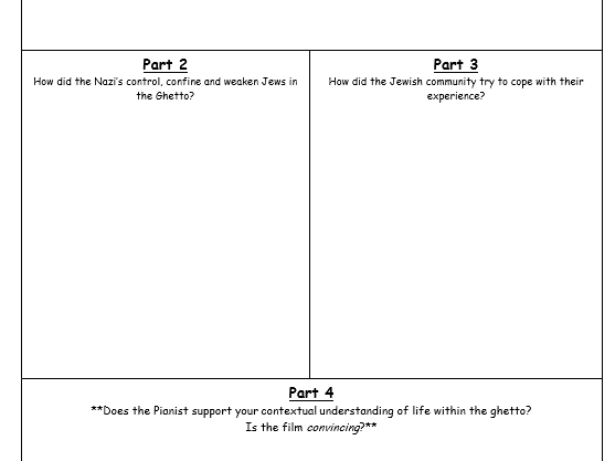 Worksheet to accompany the film 'The Pianist'