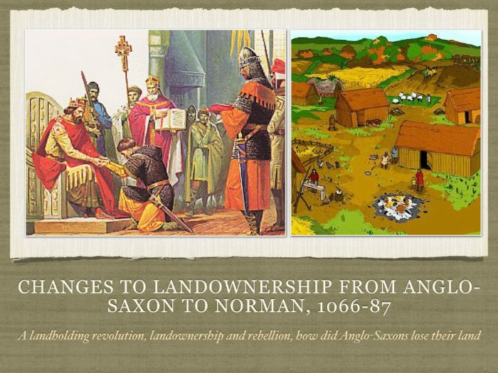 Changes to landownership from Anglo Saxon to Norman between 1066-1087