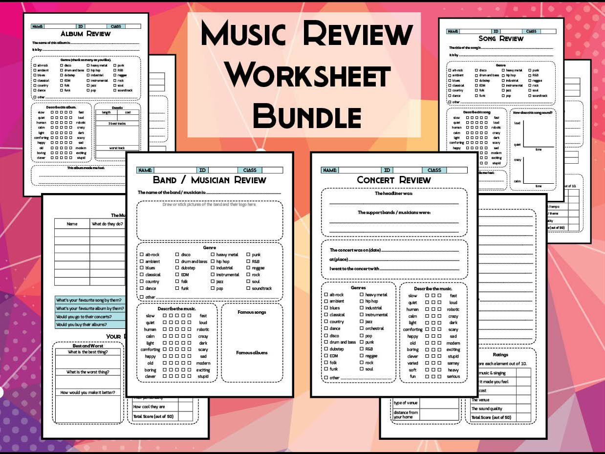 4 Music Review Worksheets