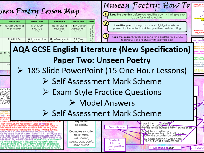 English Literature: Paper Two - Unseen Poetry Scheme of Work (AQA, 9-1 GCSE)