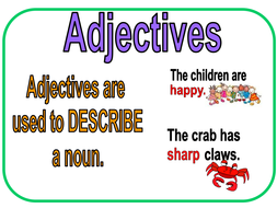 Adjectives worksheet out of 10 marks