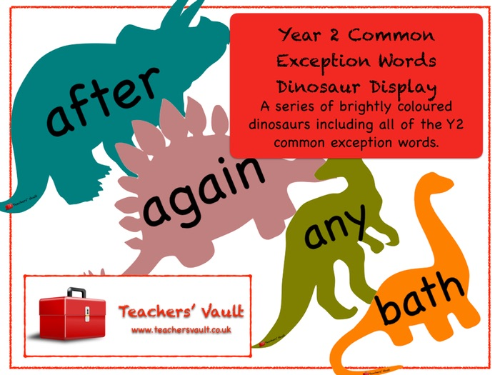 Year 2 Common Exception Words Dinosaurs Display