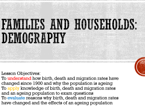 AQA Sociology Families & Households: Demography A Level