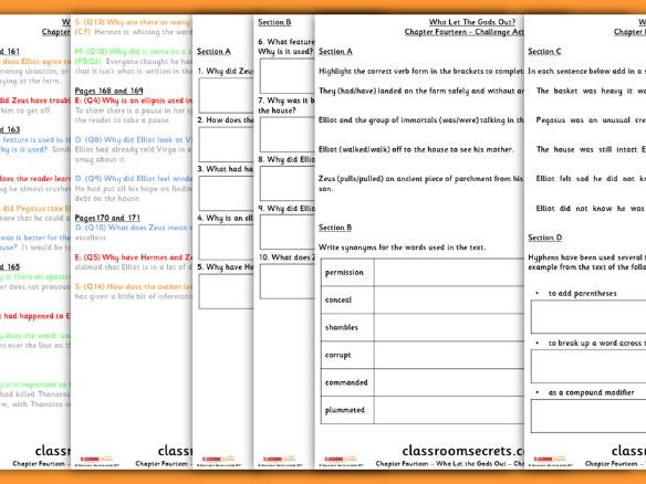 Who Let the Gods Out? Chapter 14 Whole Class Guided Reading Comprehension