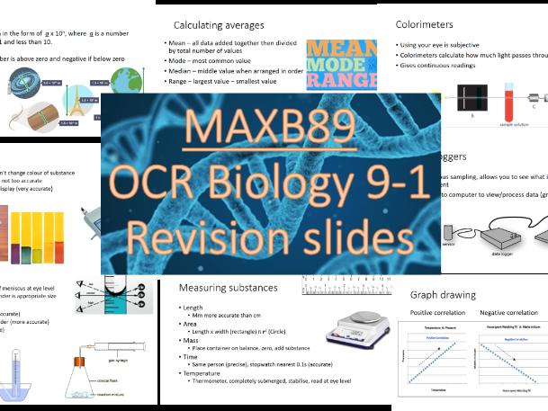 GCSE 9-1 Revision Biology OCR Unit 7 - Practical skills -  Revision Slides