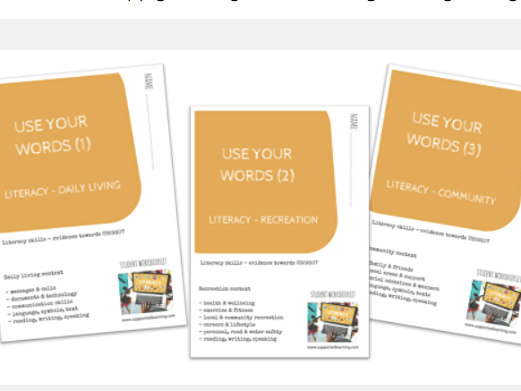 DAY-TO-DAY LITERACY BUNDLE - USE YOUR WORDS (1)-(3) THEMES X3 workbooklets