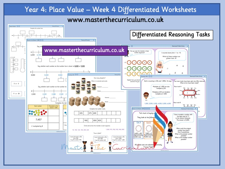 Year 4- Week 4 Differentiated Place Value Worksheets -White Rose Style