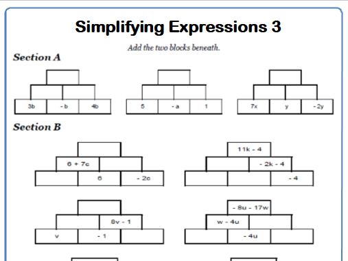 Simplifying Expressions Maths Worksheet 3