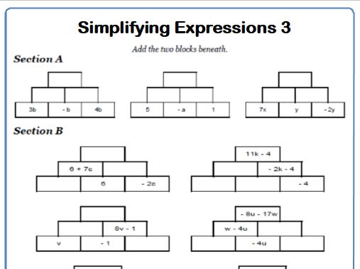 Simplifying Expressions Maths Worksheet 3
