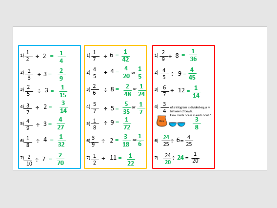 Divide fractions year 6 lesson 2