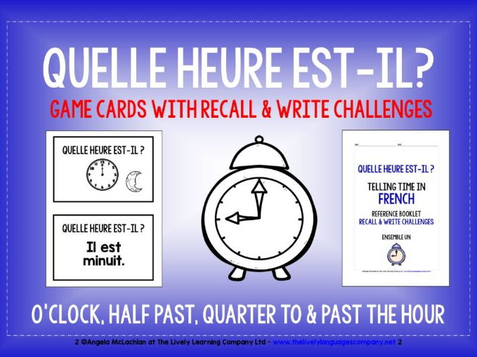 FRENCH TELLING TIME GAMES CARDS & RECALL CHALLENGES