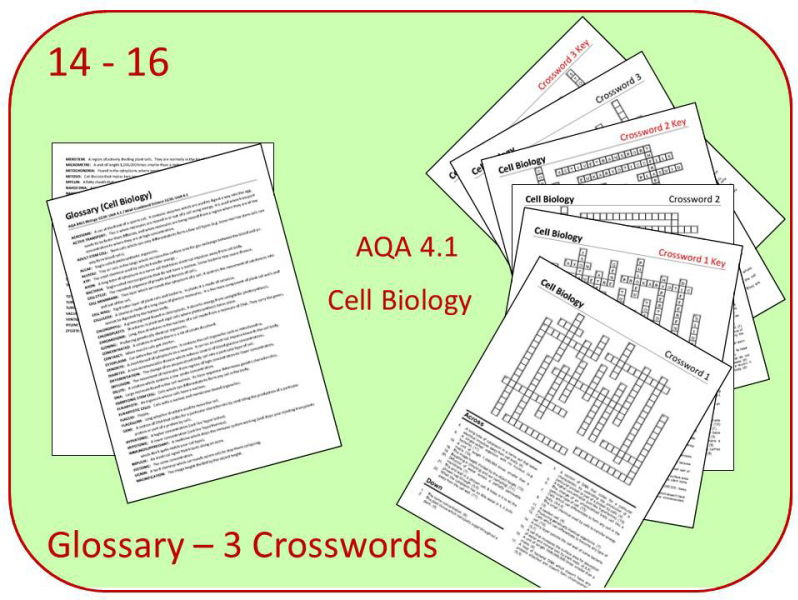 B1 Cell Biology Glossary and 3 crosswords (AQA 9-1 GCSE Science)