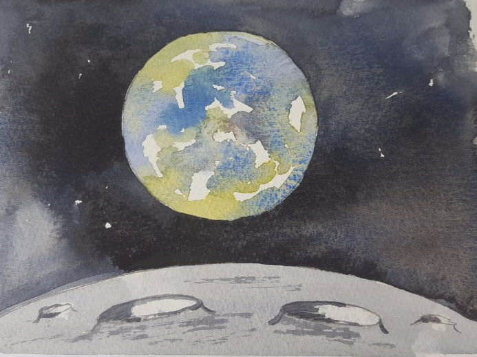 The Earth from the Moon - watercolour