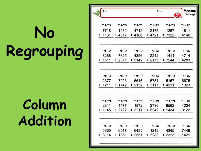 Addition worksheet with answers - 3 levels of differentiation KS2 Year 3 4 5 6 no regroup/carry