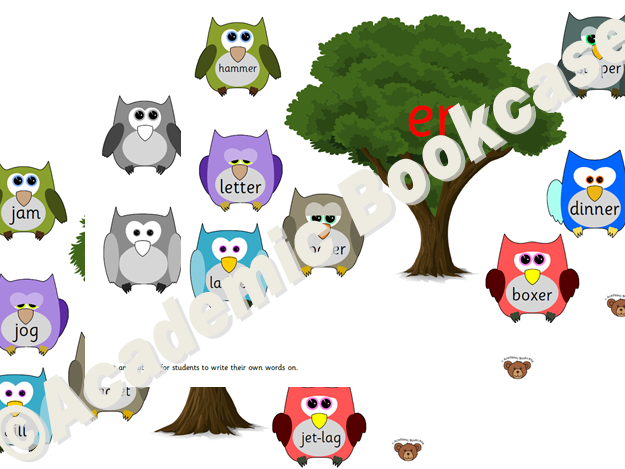 Tree and owls matching activity - All Phase 3 sounds