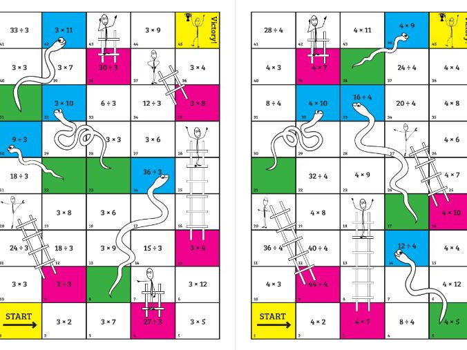 Times tables snakes and ladders by eeducation teaching for 10 times table game