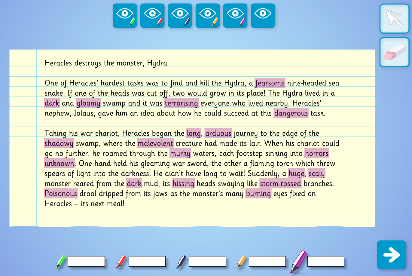 Interactive Highlighter Text Analysis  - Heracles and the Hydra - KS2 Literacy