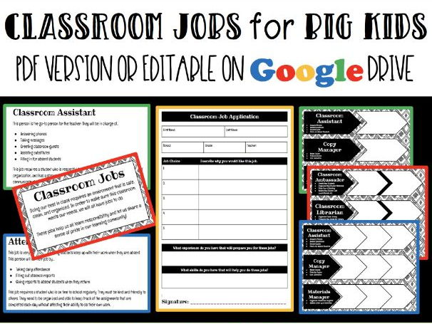 classroom jobs for big kids grades 4 8 by widenmo6684 teaching