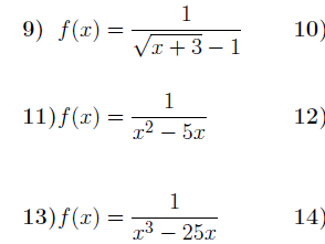 Domain of a function worksheet (with solutions)