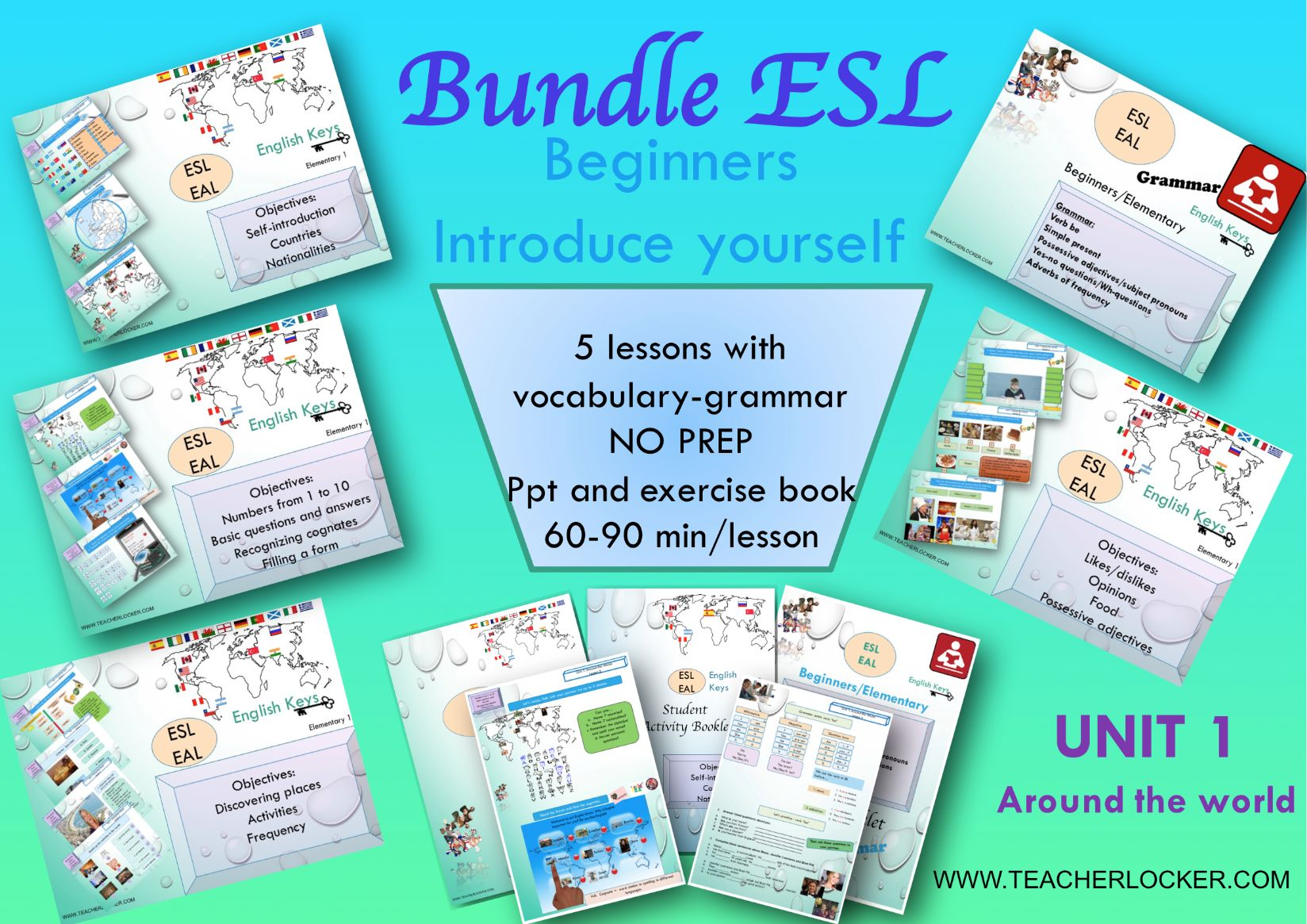 ESL Bundle - Learn to Introduce yourself -  Unit 1  - Get 5 Lessons + Activity Booklet No Prep