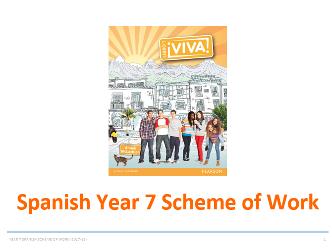 Year 7 Spanish Scheme of Work (Whole year and very detailed - based on Viva 1)