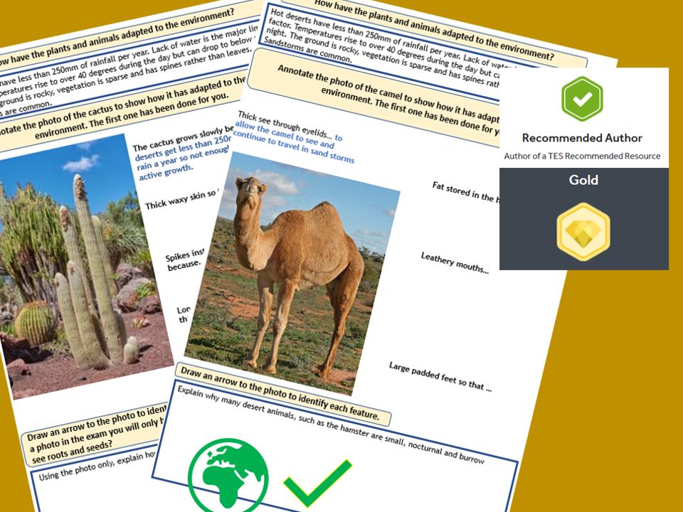 GCSE AQA 9-1 : The Living World  , hot desert plant and animal adaptations.