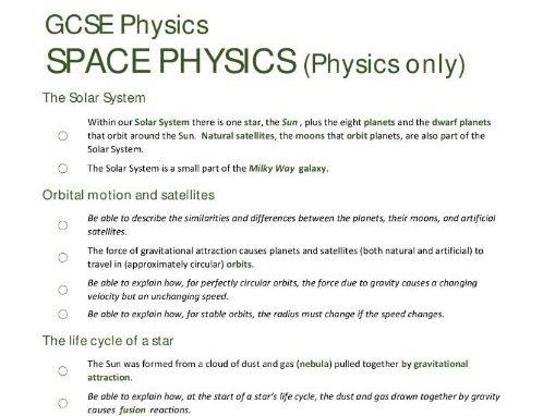 SPACE PHYSICS unit summary/checklist for AQA GCSE Physics