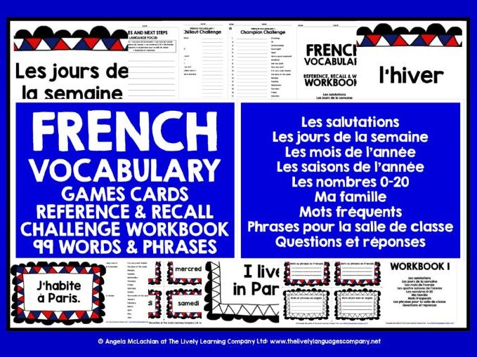 FRENCH VOCABULARY GAMES & WORKBOOK #1