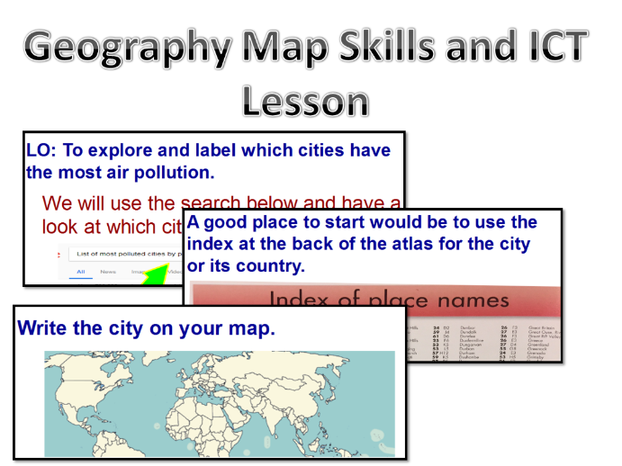 Geography Map Skills ICT Pollution Lesson