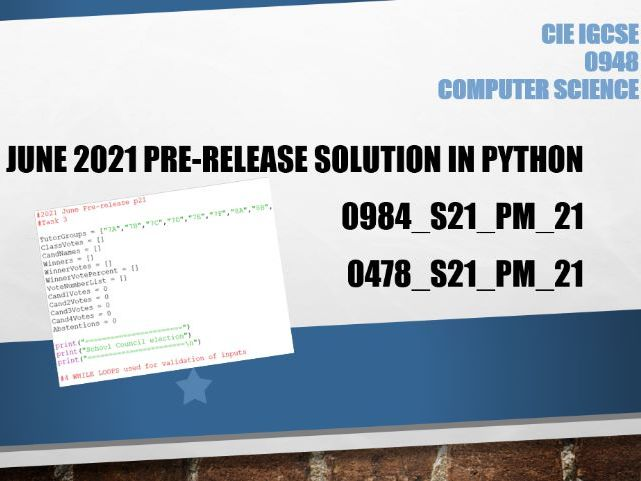 IGCSE Computer Science June 2021 Pre-release solution in Python