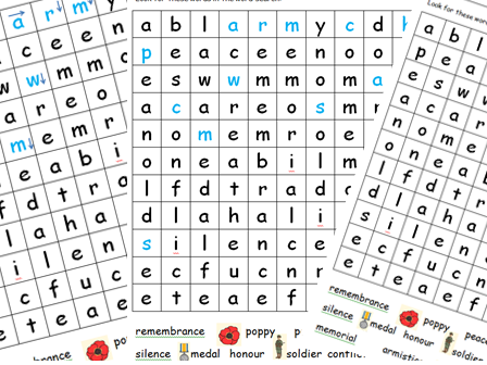 Rememberance Day - differentiated wordsearch