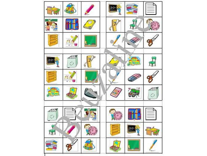 Bingo game French School Objects
