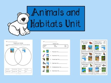 Animals and Habitats Unit & speaking task cards
