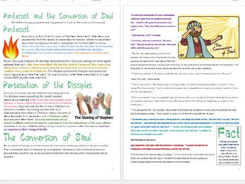 Jesus in Jerusalem: Pentecost and Saul's Conversion: Differentiated Activity Sheets