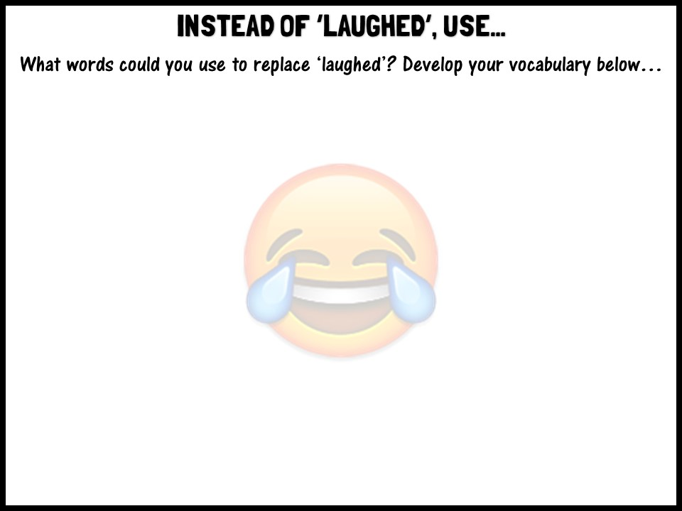 Instead of 'laughed', use...